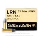 32 S&W Long Ammo For Sale - 100 gr Lead Rounds Nose - 32 S&W Long Ammunition by Sellier & Bellot For Sale - 50 Rounds