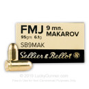 Bulk 9mm Makarov Ammo For Sale - 124 Grain FMJ - Sellier & Bellot Ammunition In Stock - 1000 Rounds