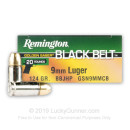 Bulk 9mm Ammo For Sale - 124 Grain BBJHP Ammunition in Stock by Remington Golden Saber Black Belt - 500 Rounds