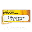Premium 6.5 Creedmoor Ammo For Sale - 147 Grain ELD Match Ammunition in Stock by Black Hills Gold - 20 Rounds