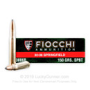 30-06 Springfield Ammo For Sale - 150 gr BTSP With Norma Brass - Fiocchi - 20 Rounds