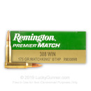 Bulk 308 Win Remington Premier MatchKing 175 gr Hollow Point Boat Tail Ammunition - 200 Rounds