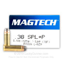Cheap 38 Special Ammo For Sale - 125 gr +P SJHP Magtech Ammunition In Stock - 50 Rounds