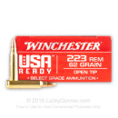 Premium 223 Rem Ammo For Sale - 62 Grain Open Tip Ammunition in Stock by Winchester USA Ready - 20 Rounds