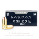 40 S&W Ammo - 180 gr TMJ - Speer Lawman 40 cal Ammunition - 50 Rounds