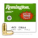 Bulk 40 S&W Ammo For Sale - 180 gr MC Remington UMC 40 cal Ammunition In Stock - 600 Rounds