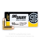Premium 10mm Auto Ammo For Sale - 180 Grain FMJ Ammunition in Stock by Sig Sauer - 50 Rounds