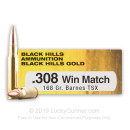 Premium 308 Ammo For Sale - 168 Grain Barnes TSX HP Ammunition in Stock by Black Hills Gold - 20 Rounds