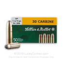 30 Carbine Ammo For Sale - 110 gr SP Sellier & Bellot Ammunition In Stock - 50 Rounds