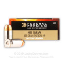 Defensive 40 S&W Ammo For Sale - 155 gr JHP  - Federal LE Tactical Bonded Ammunition In Stock