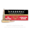 Bulk Premium 224 Valkyrie  Ammo For Sale - 90 Grain Gold Medal Sierra Matchking HPBT Ammunition in Stock by Federal Premium - 200 Rounds