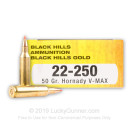 Premium 22-250 Ammo For Sale - 50 Grain V-Max Ammunition in Stock by Black Hills Gold - 20 Rounds