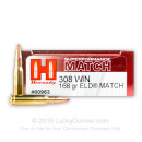 Premium 308 Win Ammo For Sale - 165 Grain ELD Match Ammunition in Stock by Hornady Superformance - 20 Rounds
