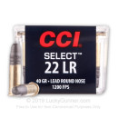 22 LR Ammo For Sale - 40 gr LRN Competition - CCI Select Ammunition In Stock - 100 Rounds