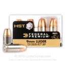 Premium Defensive 9mm Ammo For Sale - 124 gr JHP  - Federal HST Ammunition In Stock - 20 Rounds