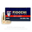 9mm Luger Ammo For Sale - 124 gr FMJ - Reloadable Fiocchi Ammunition Online