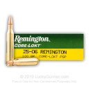 Premium 25-06 Rem Ammo For Sale - 100 Grain PSP Ammunition in Stock by Remington Core-Lokt - 20 Rounds