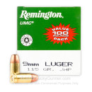 9mm Ammo For Sale - 1115 gr JHP - Remington UMC Ammunition In Stock - 100 Rounds