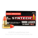 Premium 9mm Ammo For Sale - 124 Grain Total Synthetic Jacket RN Ammunition in Stock by Federal Syntech - 50 Rounds