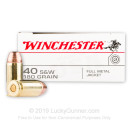 40 S&W Ammo - 180 gr FMJ - Winchester USA 40 cal Ammunition - 50 Rounds