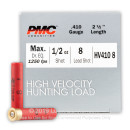 "Bulk 410 Gauge Ammo For Sale - 2-1/2"" 1/2oz. #8 Shot Ammunition in Stock by PMC High Velocity Hunting Load - 250 Rounds"