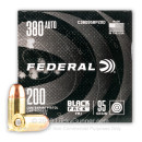 Cheap 380 Auto Ammo For Sale - 95 Grain FMJ Ammunition in Stock by Federal Black Pack - 200 Rounds