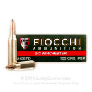 Cheap 243 Win Ammo In Stock  - 100 gr Fiocchi PSP Ammunition For Sale Online - 20 Rounds