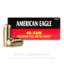 40 S&W Ammo - 180 gr FMJ - Federal American Eagle 40 cal Ammunition - 50 Rounds