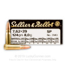 Cheap 7.62x39 Ammo For Sale - 124 Grain SP Ammunition in Stock by Sellier & Bellot - 20 Rounds
