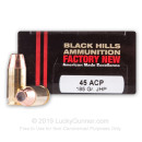 Premium 45 ACP Ammo For Sale - 185 Grain JHP Ammunition in Stock by Black Hills - 20 Rounds
