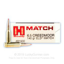 Premium 6.5mm Creedmoor Ammo For Sale - 140 Grain ELD Match Ammunition in Stock by Hornady - 200 Rounds