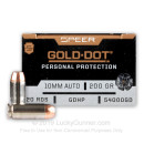 Premium 10mm Auto Ammo For Sale - 200 Grain JHP Ammunition in Stock by Speer Gold Dot - 20 Rounds
