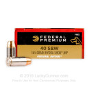 Premium 40 Cal Ammo For Sale  - 165 gr Hydra Shok JHP Federal 40 S&W Ammunition - 20 Rounds