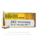 Premium 243 Ammo For Sale - 95 Grain SST Polymer Tip Ammunition in Stock by Black Hills Gold - 20 Rounds