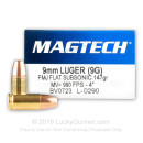 9mm Luger Subsonic Ammo For Sale - 147 gr FMJ - Magtech Ammunition In Stock