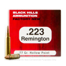 Cheap 223 Rem Ammo For Sale - 77 Grain HP Ammunition in Stock by Black Hills Ammunition - 50 Rounds