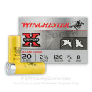 """Bulk 20 Gauge Ammo For Sale - 2-3/4"""" 7/8oz. #8 Shot Ammunition in Stock by Winchester Super-X - 250 Rounds"""