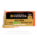 223 Rem Sierra MatchKing Federal Premium 77 grain hollow point boat tail ammunition