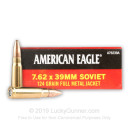 Brass Cased 7.62x39 Ammo In Stock - 124 gr FMJ - 7.62x39 Ammunition by Federal For Sale - 20 Rounds