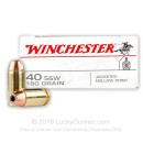 40 SW Ammo - 180 gr JHP - Winchester USA Ammunition - 50 Rounds