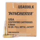 Bulk 5.56x45mm Ammo For Sale - 55 Grain FMJ Ammunition In Stock by Winchester USA - 1000 Rounds