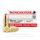 9mm Ammo - 115 gr FMJ - WinUSA Ammunition - 100 Rounds