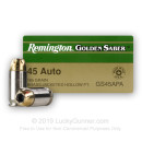 45 ACP Ammo For Sale - 185 gr JHP Remington Golden Saber .45 Auto Ammunition In Stock