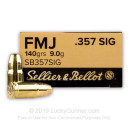 357 Sig Ammo - 140 gr FMJ - Sellier Bellot - 50 Rounds