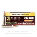 Premium 243 Ammo For Sale - 95 Grain Nosler Ballistic Tip Ammunition in Stock by Federal Vital-Shok - 20 Rounds