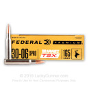 Premium 30-06 Ammo For Sale - 165 Grain Barnes TSX Ammunition in Stock by Federal - 20 Rounds
