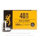 Premium 40 S&W Ammo For Sale - 180 Grain X-Point JHP Ammunition in Stock by Browning BXP - 20 Rounds