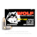 Cheap 9mm Ammo For Sale - 115 Grain FMJ Ammunition in Stock by Wolf Performance - 50 Rounds