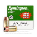 .40 S&W Ammo - Remington UMC 180gr JHP - 100 Rounds