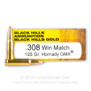 Premium 308 Ammo For Sale - 125 Grain GMX Ammunition in Stock by Black Hills Gold - 20 Rounds